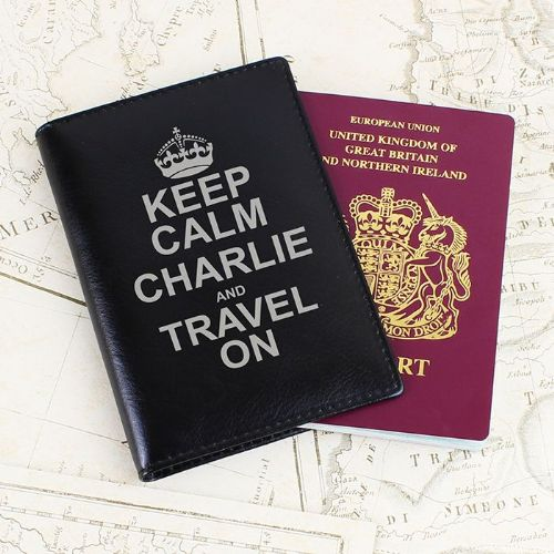 Personalised Keep Calm Black Passport